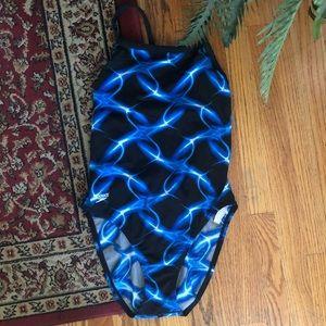 Speedo Blue And Black Geometric Swimsuit